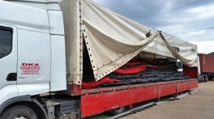 Image of 30m deep silt barrier loaded in Southampton ready for 11 day road trip to Turkey