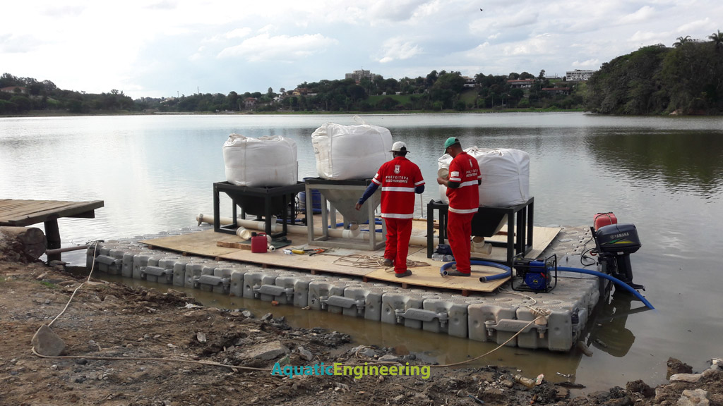 Phoslock Pontoon deployment in Brazil for Lake Restoration